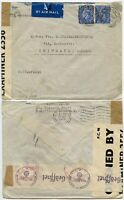 WW2 DOUBLE CENSORED 30 SEP 1943 GB + 3rd REICH to TRIMBACH SWITZERLAND AIRMAIL