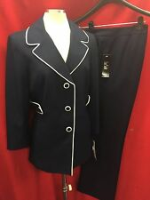 """LESUIT PANT SUIT/NAVY/LINED/INSEAM 32""""/SIZE 12/NEW/3/4 sleeve/JACKET LENGTH 29"""""""