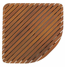 Bare Decor Dania Corner Shower Spa Mat in Solid Teak Wood and Oiled Finish, 24""