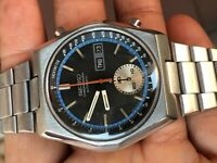 Seiko Chronograph Automatic 6139-7080 Black Dial Authentic Vintage Mens watch