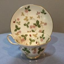 Wedgwood Ice Rose bone china breakfast shape cup and saucer green mark