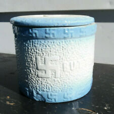 ANTIQUE BLUE & GRAY STONEWARE BUTTER CROCK w/ORIG. LID Swastika pattern