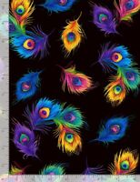 Animal Fabric - Rainbow Peacock Feather Toss Black - Timeless Treasures YARD