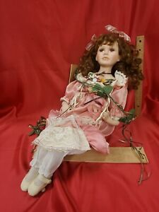 Goldenvale Collection 1-2000 Porcelain 20 inch Doll on a swing