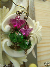 SCOTTISH THISTLE EARRINGS faceted glass