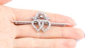 Valentinstag 0.82CT Natürlich Rund Diamant 14K Echt Weißgold Herz Brosche