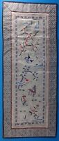 Vintage Chinese Silk Panel Hand Embroidered Crane Blossom Floral Scene 24 x 10