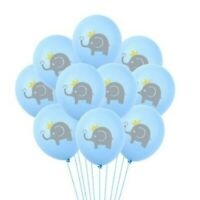 12 Pack Blue w/ Gray Elephant BABY Shower Latex Balloons Boy Party Supplies