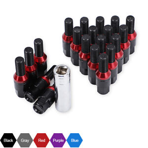 20 pcs Wheel Extended Lug Bolts Nuts M14x1.25 + Key Shank Cone Seat Fit for BMW