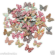 50 Wood Buttons - BUTTERFLY - Scrapbooking - Crafting - Sewing - UK SELLER!!