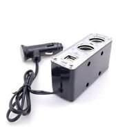 2 Way Socket Car Cigarette Lighter 12V Charger with Dual USB Port Power Adapter