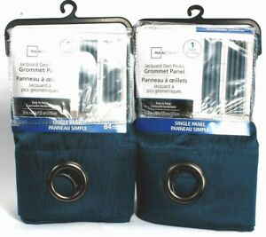 """2 Mainstays Grommet Panel Easy to Hang 105090 Ink Blue 52"""" X 84"""" Polyester"""