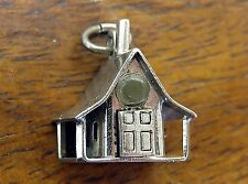 Vintage silver GOD BLESS OUR HOME w/ BABY STANHOPE 3-D HOUSE charm RARE #M