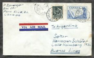 p1178 - PORT ALICE BC 1959 Airmail Cover to ARGENTINA
