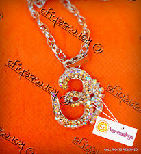 OM AUM COLOURED RHINESTONE PENDANT MALA NECKLACE CHAIN BLING CHARM MANTRA OMKARA