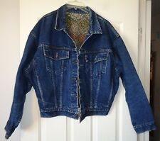 "RARE SAMPLE GARMENT LEVI'S FLANNEL LINED TRUCKER JACKET USA MADE 48"" CHEST"