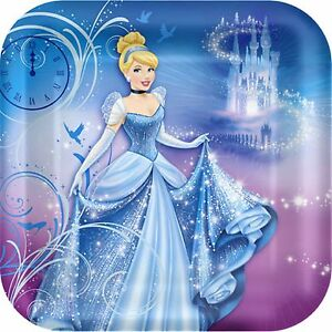 Cinderella Party Plates 23cm 8pk - Cinderella Sparkle Party Supplies