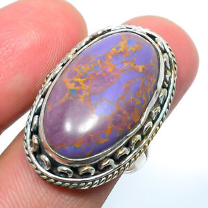 Copper Purple Turquoise Gemstone 925 Sterling Silver Bali Ring s.8 S2661