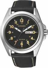 Citizen Eco-Drive AW0050-07E. Steel Leather Strap Mens Watch. Classic Look.