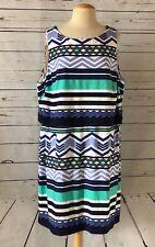 ELIZA J PLUS SIZE 20W Striped Jersey Knit Shift Dress Blue Green NEW