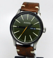 Mens Nixon The Sentry 42mm Army Green Date Dial Brown Leather Strap Watch