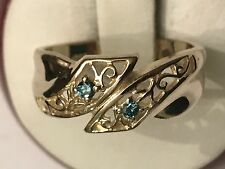 14k Yellow Filigree Custom.03 Ct Blue Diamond  Bypass Ring Size 6 3/4 - 3.7 Gram