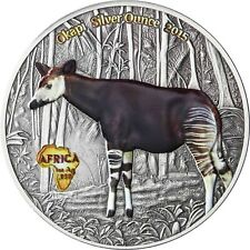 Kongo 1000 Francs 2015 Okapi Silver Ounce Antique Finish Münze in Farbe