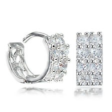 White Gold Filled Crystal Round Hoop Men Women Earrings USGM081