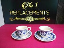 2 x Masons Blue Batik Pattern Coffee Cups and Saucers