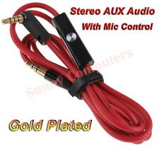 3.5mm Stereo Audio Jack M/M AUX Extension Cable Cord With Mic For iPod iPhone AU