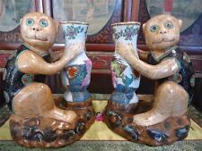 2 Vintage Chinese Ceramic Porcelain Monkey Figurine Candle Holder Tobacco Leaf
