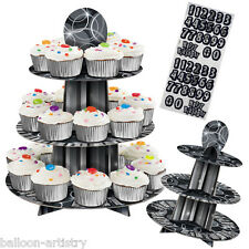 36cm Happy Birthday BLACK Glitz Party 3-Tier Card Cake Cupcake Stand