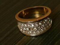 18k Gold Ring Wide Band With Diamonds One Stone Missing gold electro plated