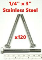 """Stainless Steel Hex Cap Screw Bolt Partial Thread 1/4""""-20 x 3"""" (QTY 120)"""
