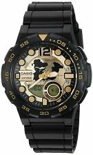 Casio Men's '10 Year Battery' Quartz Resin Automatic Watch Black and Gold