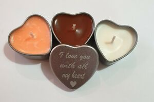 3 Handmade Highly scented soy wax candles, engraved tins. Personalised candles