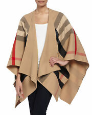 BURBERRY Charlotte Reversible Solid Check Wool Cape Poncho Merino In Camel