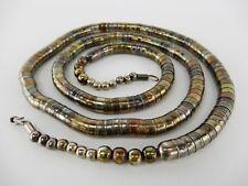 Vintage Tribal Silver Stacked Beaded Snake Spine Coil Tube Rondelle Necklace