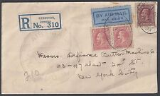 JAMAICA 1930 EARLY AIR MAIL REGISTERED COVER OVAL KINGSTON TO NY VIA MIAMI STATI