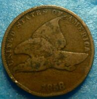 1858 SL Flying Eagle  Cent  Coin  #RR58-5