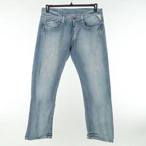 Replay Regular Fit Straight Jeans Mens 36x34 Blue Faded Medium Wash Denim