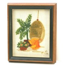 Vintage 70's Crewel Needlepoint Framed Hanging Wicker Chair Palm Tree Flowers