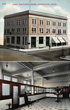 Postcard Office Lobby & Exterior First National Bank Ludington, Michigan~113401