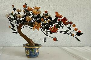 Vintage Antique Late Qing Cloisonne Planter with Jade(tested) & Agate Tree