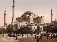 ANTIQUE 1900 BW PHOTO~SAINT SOPHIE~HAGIA SOPHIA ORIG HAND TINTED ISTANBUL TURKEY