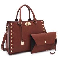 New Womens Handbag Faux Leather Satchel Medium Bag Twist Lock Purse w/ Wallet