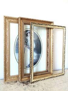 Three Large Gilt Gold Ornate Vintage Picture Frames