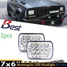 2PCS 7x6 LED Headlights For 1986-1995 Jeep Wrangler 1984-2001 Cherokee New