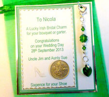 Lucky Irish Bridal Charm with Swarovski Elements & Sixpence for her Shoe Tag+Bag