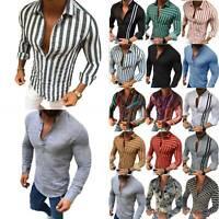Herren Hemd Langarm Freizeithemd Hemden Schlank T-Shirt Freizeit Bluse Oberteile